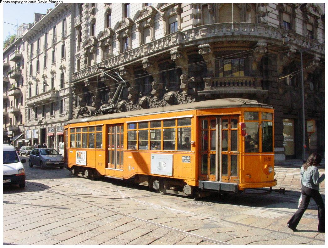 (258k, 1044x788)<br><b>Country:</b> Italy<br><b>City:</b> Milan<br><b>System:</b> Azienda Trasporti Milanesi (ATM)<br><b>Location:</b> Cusani/Vetero <br><b>Route:</b> 4<br><b>Car:</b> Milan Milano/Peter Witt (1927-1930)  1631 <br><b>Photo by:</b> David Pirmann<br><b>Date:</b> 9/26/2002<br><b>Viewed (this week/total):</b> 0 / 2150
