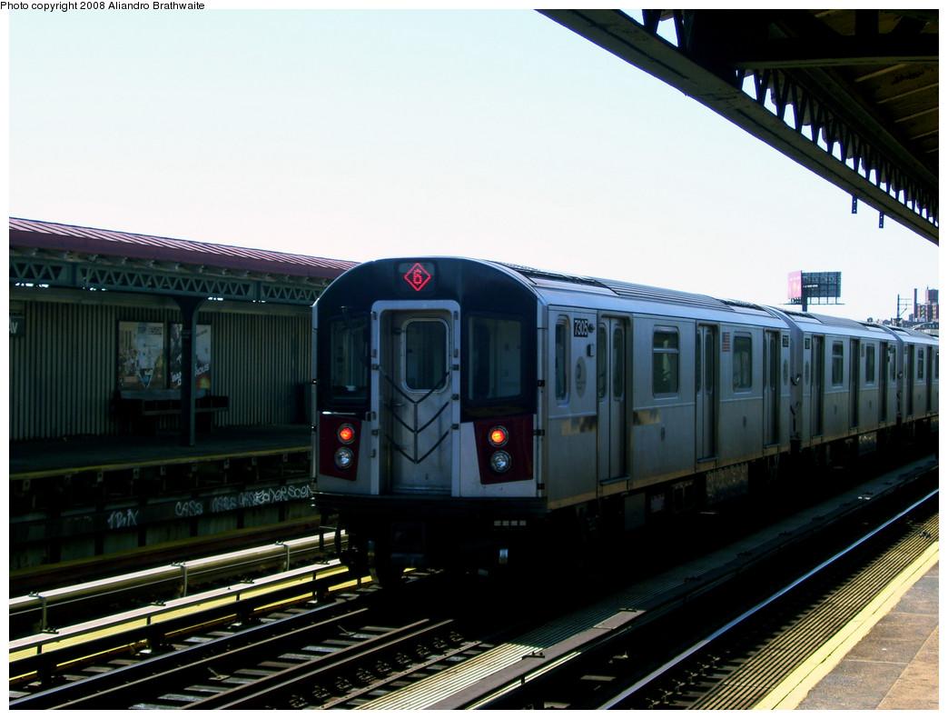 (231k, 1044x791)<br><b>Country:</b> United States<br><b>City:</b> New York<br><b>System:</b> New York City Transit<br><b>Line:</b> IRT Pelham Line<br><b>Location:</b> Whitlock Avenue <br><b>Route:</b> 6<br><b>Car:</b> R-142A (Primary Order, Kawasaki, 1999-2002)  7305 <br><b>Photo by:</b> Aliandro Brathwaite<br><b>Date:</b> 8/20/2008<br><b>Viewed (this week/total):</b> 0 / 1799