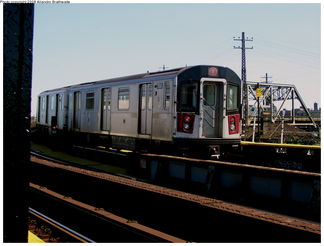 (209k, 1044x791)<br><b>Country:</b> United States<br><b>City:</b> New York<br><b>System:</b> New York City Transit<br><b>Line:</b> IRT Pelham Line<br><b>Location:</b> Whitlock Avenue <br><b>Route:</b> 6<br><b>Car:</b> R-142A (Primary Order, Kawasaki, 1999-2002)  7561 <br><b>Photo by:</b> Aliandro Brathwaite<br><b>Date:</b> 8/20/2008<br><b>Viewed (this week/total):</b> 0 / 1352