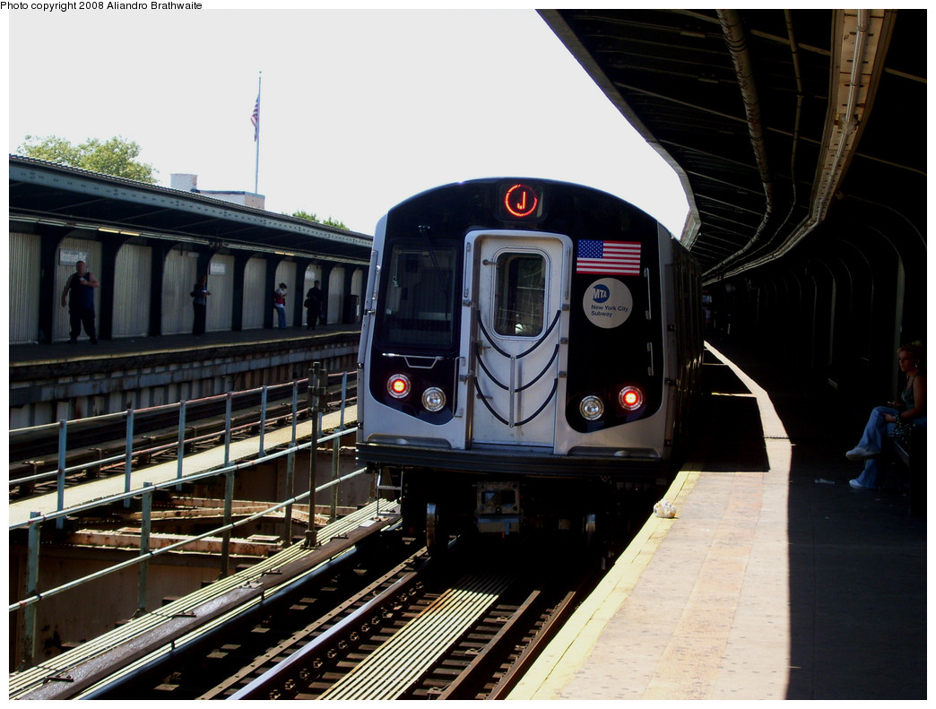 (252k, 1044x791)<br><b>Country:</b> United States<br><b>City:</b> New York<br><b>System:</b> New York City Transit<br><b>Line:</b> BMT Nassau Street/Jamaica Line<br><b>Location:</b> Woodhaven Boulevard <br><b>Route:</b> J<br><b>Car:</b> R-160A-1 (Alstom, 2005-2008, 4 car sets)  8589 <br><b>Photo by:</b> Aliandro Brathwaite<br><b>Date:</b> 8/20/2008<br><b>Viewed (this week/total):</b> 2 / 1789
