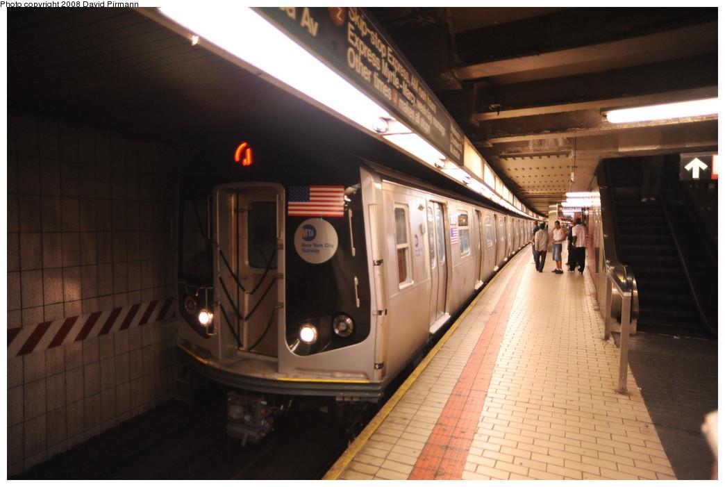 (223k, 1044x701)<br><b>Country:</b> United States<br><b>City:</b> New York<br><b>System:</b> New York City Transit<br><b>Line:</b> BMT Nassau Street/Jamaica Line<br><b>Location:</b> Sutphin Blvd.-Archer Ave./JFK <br><b>Route:</b> J<br><b>Car:</b> R-160A-1 (Alstom, 2005-2008, 4 car sets)  8609 <br><b>Photo by:</b> David Pirmann<br><b>Date:</b> 8/27/2008<br><b>Notes:</b> Lower (Jamaica Line) level.<br><b>Viewed (this week/total):</b> 1 / 2556