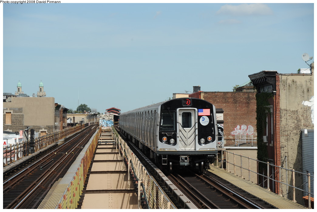 (249k, 1044x701)<br><b>Country:</b> United States<br><b>City:</b> New York<br><b>System:</b> New York City Transit<br><b>Line:</b> BMT Nassau Street/Jamaica Line<br><b>Location:</b> Cleveland Street <br><b>Route:</b> J<br><b>Car:</b> R-160A-1 (Alstom, 2005-2008, 4 car sets)  8560 <br><b>Photo by:</b> David Pirmann<br><b>Date:</b> 8/27/2008<br><b>Viewed (this week/total):</b> 0 / 2484