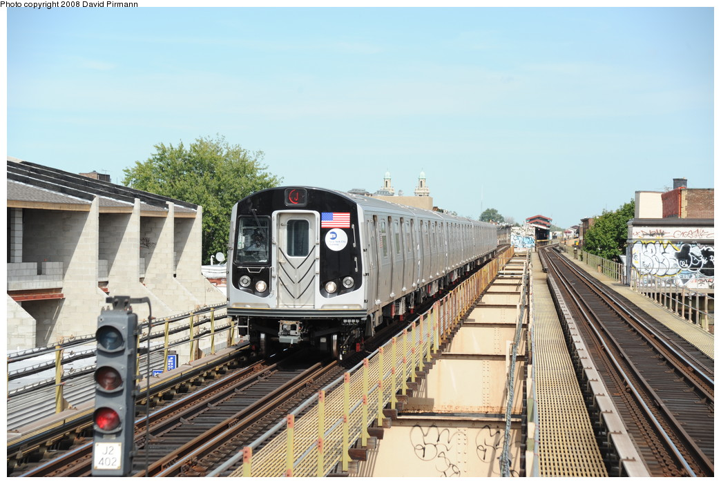 (278k, 1044x701)<br><b>Country:</b> United States<br><b>City:</b> New York<br><b>System:</b> New York City Transit<br><b>Line:</b> BMT Nassau Street/Jamaica Line<br><b>Location:</b> Cleveland Street <br><b>Route:</b> J<br><b>Car:</b> R-160A-1 (Alstom, 2005-2008, 4 car sets)  8529 <br><b>Photo by:</b> David Pirmann<br><b>Date:</b> 8/27/2008<br><b>Viewed (this week/total):</b> 0 / 1673