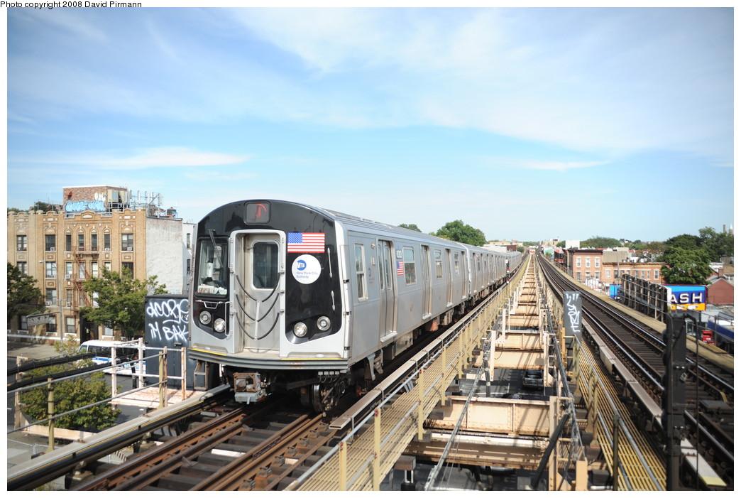 (272k, 1044x701)<br><b>Country:</b> United States<br><b>City:</b> New York<br><b>System:</b> New York City Transit<br><b>Line:</b> BMT Nassau Street/Jamaica Line<br><b>Location:</b> Alabama Avenue <br><b>Route:</b> J<br><b>Car:</b> R-160A-1 (Alstom, 2005-2008, 4 car sets)  8313 <br><b>Photo by:</b> David Pirmann<br><b>Date:</b> 8/27/2008<br><b>Viewed (this week/total):</b> 0 / 2940