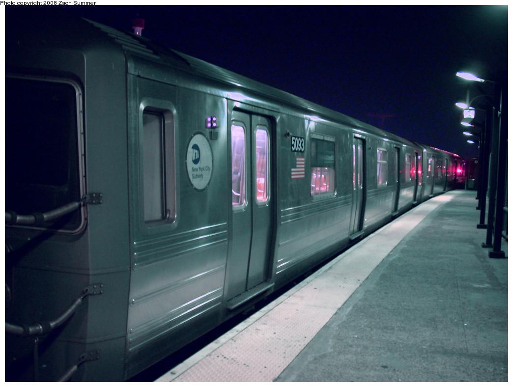 (216k, 1044x788)<br><b>Country:</b> United States<br><b>City:</b> New York<br><b>System:</b> New York City Transit<br><b>Line:</b> BMT Brighton Line<br><b>Location:</b> West 8th Street <br><b>Route:</b> B yard move<br><b>Car:</b> R-68A (Kawasaki, 1988-1989)  5093 <br><b>Photo by:</b> Zach Summer<br><b>Date:</b> 7/18/2008<br><b>Viewed (this week/total):</b> 2 / 1568