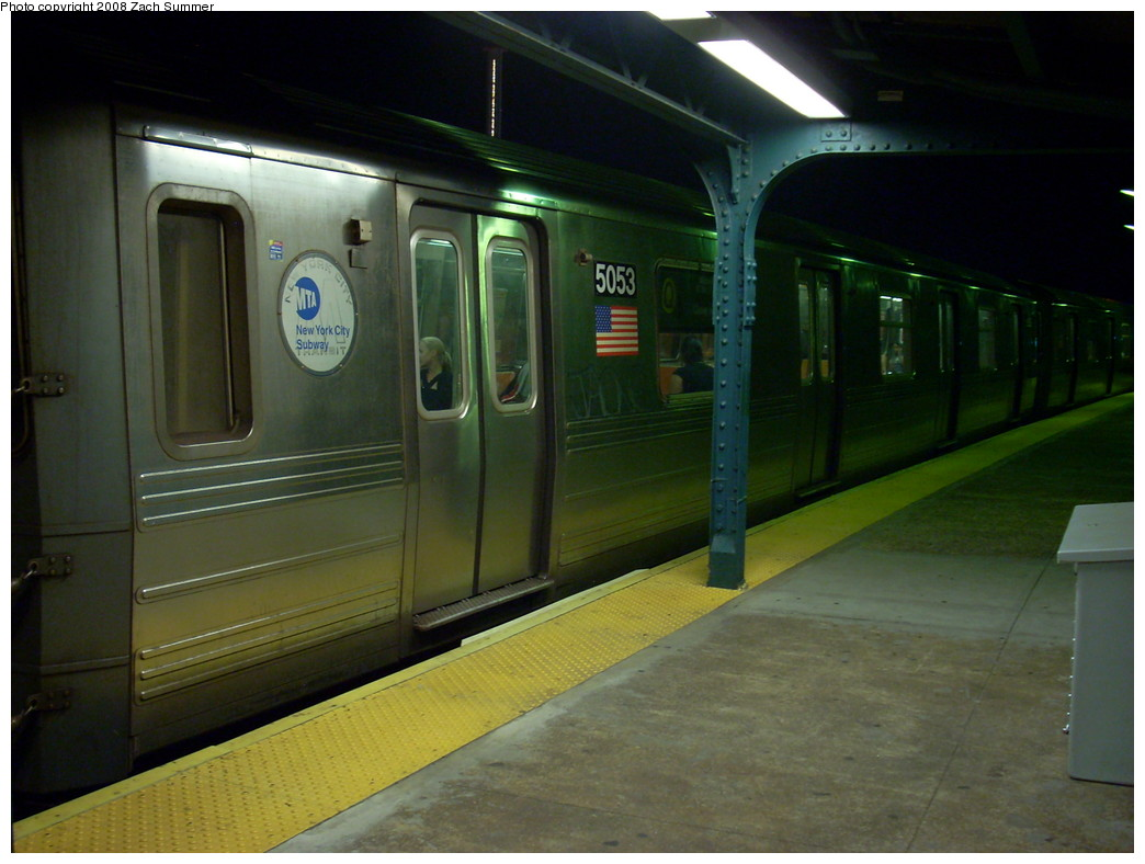 (218k, 1044x788)<br><b>Country:</b> United States<br><b>City:</b> New York<br><b>System:</b> New York City Transit<br><b>Line:</b> BMT Brighton Line<br><b>Location:</b> West 8th Street <br><b>Route:</b> Q<br><b>Car:</b> R-68A (Kawasaki, 1988-1989)  5053 <br><b>Photo by:</b> Zach Summer<br><b>Date:</b> 7/18/2008<br><b>Viewed (this week/total):</b> 3 / 1533