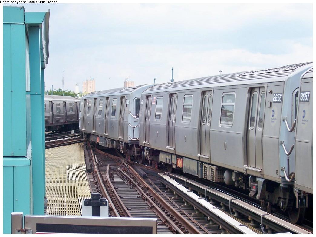 (207k, 1044x783)<br><b>Country:</b> United States<br><b>City:</b> New York<br><b>System:</b> New York City Transit<br><b>Location:</b> Coney Island/Stillwell Avenue<br><b>Route:</b> N<br><b>Car:</b> R-160A-2 (Alstom, 2005-2008, 5 car sets)  8656 <br><b>Photo by:</b> Curtis Roach<br><b>Date:</b> 8/8/2008<br><b>Viewed (this week/total):</b> 0 / 1541