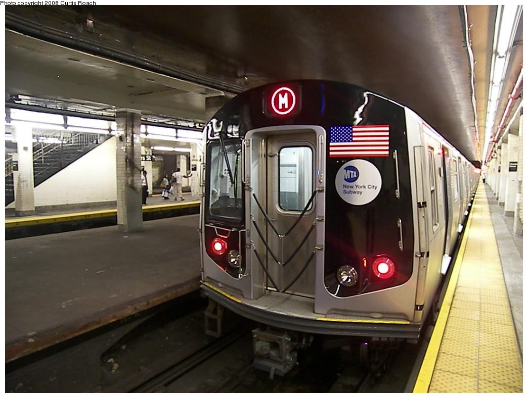 (212k, 1044x788)<br><b>Country:</b> United States<br><b>City:</b> New York<br><b>System:</b> New York City Transit<br><b>Line:</b> BMT Nassau Street/Jamaica Line<br><b>Location:</b> Chambers Street <br><b>Route:</b> M<br><b>Car:</b> R-160A-1 (Alstom, 2005-2008, 4 car sets)  8408 <br><b>Photo by:</b> Curtis Roach<br><b>Date:</b> 8/22/2008<br><b>Viewed (this week/total):</b> 0 / 3131