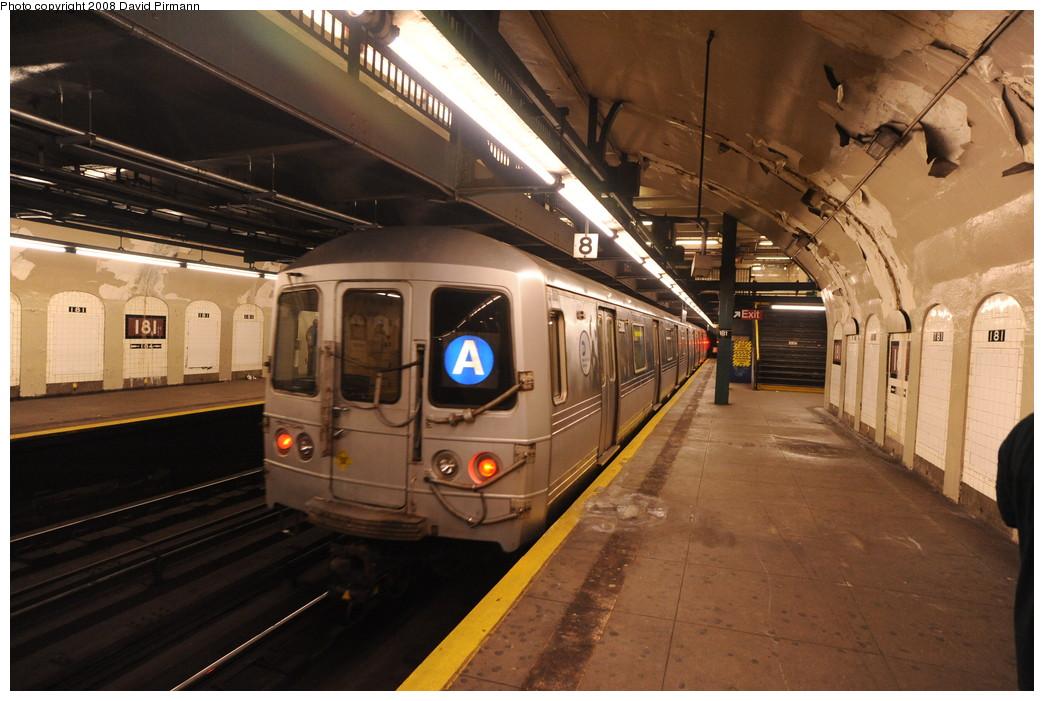 (257k, 1044x701)<br><b>Country:</b> United States<br><b>City:</b> New York<br><b>System:</b> New York City Transit<br><b>Line:</b> IND 8th Avenue Line<br><b>Location:</b> 181st Street <br><b>Route:</b> A<br><b>Car:</b> R-44 (St. Louis, 1971-73) 5380 <br><b>Photo by:</b> David Pirmann<br><b>Date:</b> 8/27/2008<br><b>Viewed (this week/total):</b> 0 / 1925