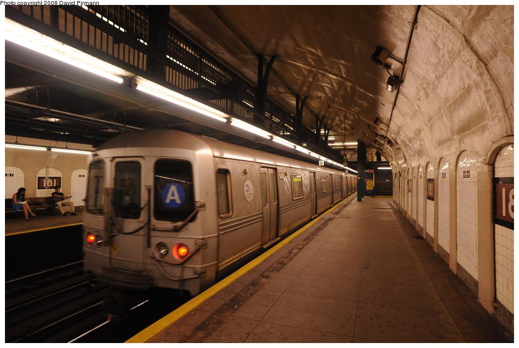 (257k, 1044x701)<br><b>Country:</b> United States<br><b>City:</b> New York<br><b>System:</b> New York City Transit<br><b>Line:</b> IND 8th Avenue Line<br><b>Location:</b> 181st Street <br><b>Route:</b> A<br><b>Car:</b> R-44 (St. Louis, 1971-73) 5470 <br><b>Photo by:</b> David Pirmann<br><b>Date:</b> 8/27/2008<br><b>Viewed (this week/total):</b> 0 / 1630