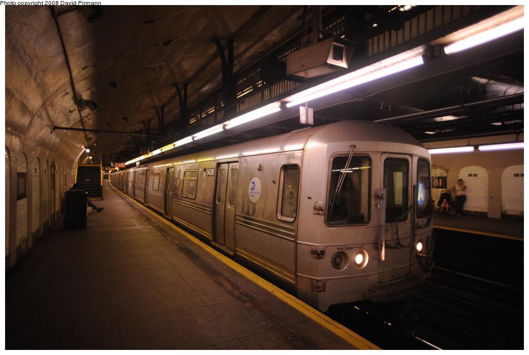 (220k, 1044x701)<br><b>Country:</b> United States<br><b>City:</b> New York<br><b>System:</b> New York City Transit<br><b>Line:</b> IND 8th Avenue Line<br><b>Location:</b> 181st Street <br><b>Route:</b> A<br><b>Car:</b> R-44 (St. Louis, 1971-73) 5438 <br><b>Photo by:</b> David Pirmann<br><b>Date:</b> 8/27/2008<br><b>Viewed (this week/total):</b> 2 / 1460