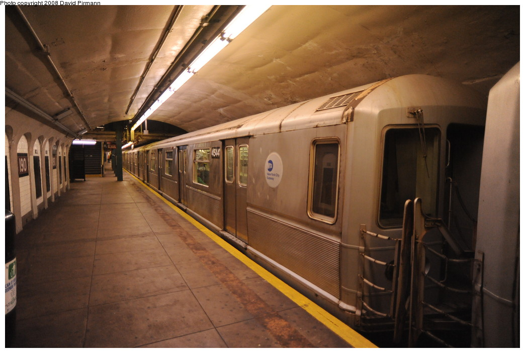 (231k, 1044x701)<br><b>Country:</b> United States<br><b>City:</b> New York<br><b>System:</b> New York City Transit<br><b>Line:</b> IND 8th Avenue Line<br><b>Location:</b> 190th Street/Overlook Terrace <br><b>Route:</b> A<br><b>Car:</b> R-40M (St. Louis, 1969)  4544 <br><b>Photo by:</b> David Pirmann<br><b>Date:</b> 8/27/2008<br><b>Viewed (this week/total):</b> 4 / 1745