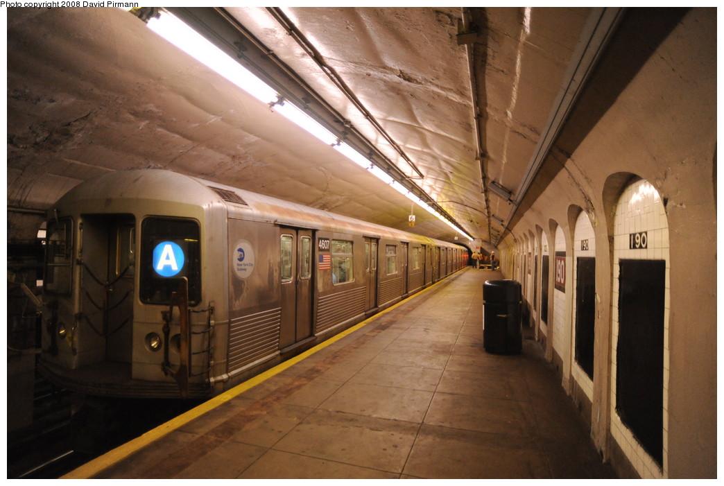(242k, 1044x701)<br><b>Country:</b> United States<br><b>City:</b> New York<br><b>System:</b> New York City Transit<br><b>Line:</b> IND 8th Avenue Line<br><b>Location:</b> 190th Street/Overlook Terrace <br><b>Route:</b> A<br><b>Car:</b> R-42 (St. Louis, 1969-1970)  4607 <br><b>Photo by:</b> David Pirmann<br><b>Date:</b> 8/27/2008<br><b>Viewed (this week/total):</b> 1 / 1476