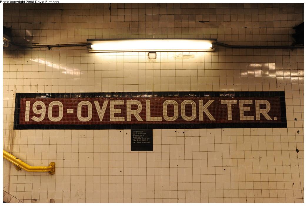 (249k, 1044x701)<br><b>Country:</b> United States<br><b>City:</b> New York<br><b>System:</b> New York City Transit<br><b>Line:</b> IND 8th Avenue Line<br><b>Location:</b> 190th Street/Overlook Terrace <br><b>Photo by:</b> David Pirmann<br><b>Date:</b> 8/27/2008<br><b>Viewed (this week/total):</b> 0 / 1046