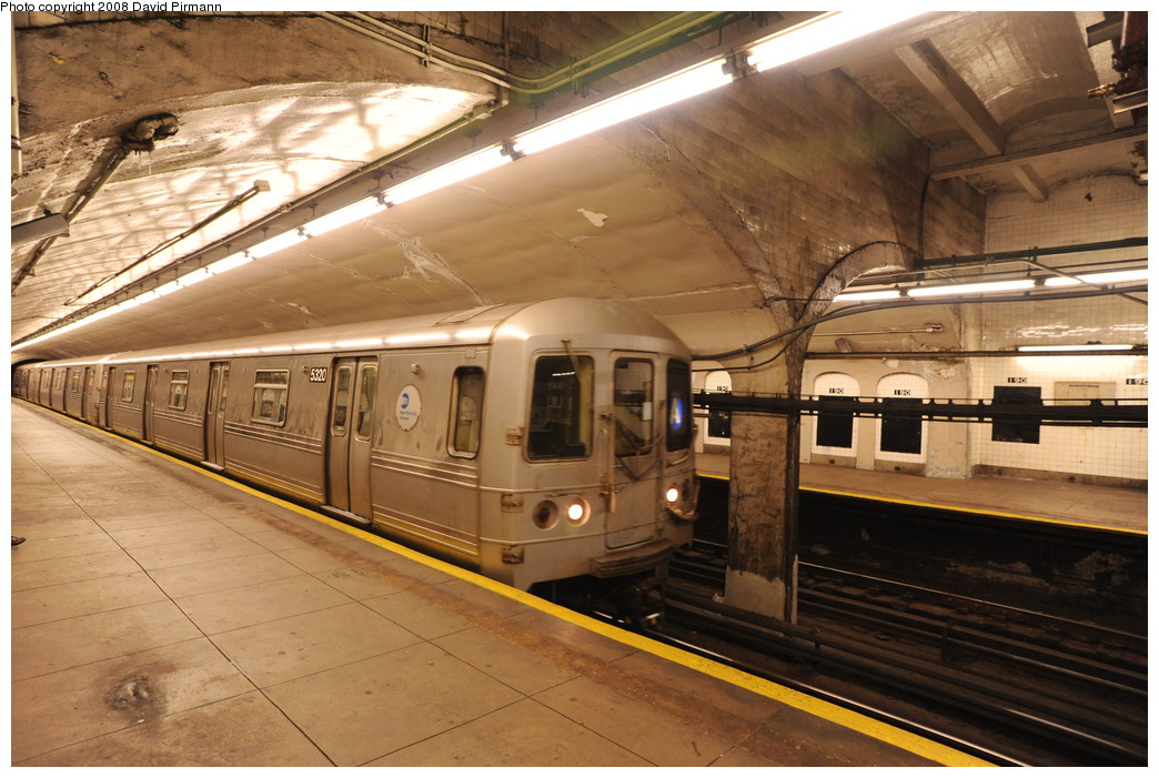 (274k, 1044x701)<br><b>Country:</b> United States<br><b>City:</b> New York<br><b>System:</b> New York City Transit<br><b>Line:</b> IND 8th Avenue Line<br><b>Location:</b> 190th Street/Overlook Terrace <br><b>Route:</b> A<br><b>Car:</b> R-44 (St. Louis, 1971-73) 5320 <br><b>Photo by:</b> David Pirmann<br><b>Date:</b> 8/27/2008<br><b>Viewed (this week/total):</b> 2 / 1261