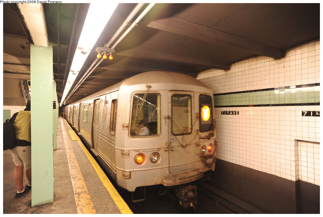 (244k, 1044x701)<br><b>Country:</b> United States<br><b>City:</b> New York<br><b>System:</b> New York City Transit<br><b>Line:</b> IND Queens Boulevard Line<br><b>Location:</b> 71st/Continental Aves./Forest Hills <br><b>Route:</b> V<br><b>Car:</b> R-46 (Pullman-Standard, 1974-75) 6088 <br><b>Photo by:</b> David Pirmann<br><b>Date:</b> 8/27/2008<br><b>Viewed (this week/total):</b> 1 / 1519