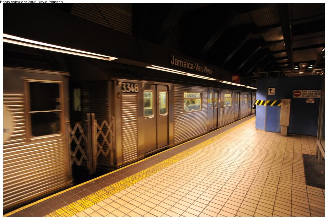 (267k, 1044x701)<br><b>Country:</b> United States<br><b>City:</b> New York<br><b>System:</b> New York City Transit<br><b>Line:</b> IND Queens Boulevard Line<br><b>Location:</b> Jamaica/Van Wyck <br><b>Route:</b> E<br><b>Car:</b> R-32 (Budd, 1964)  3348 <br><b>Photo by:</b> David Pirmann<br><b>Date:</b> 8/27/2008<br><b>Viewed (this week/total):</b> 0 / 1696