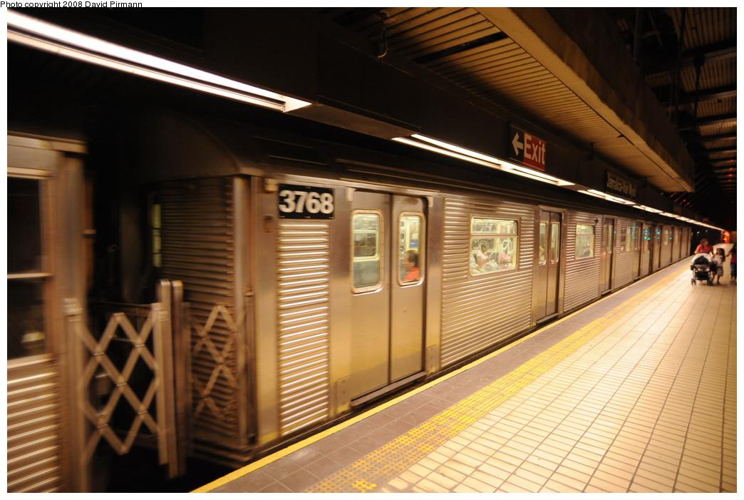 (258k, 1044x701)<br><b>Country:</b> United States<br><b>City:</b> New York<br><b>System:</b> New York City Transit<br><b>Line:</b> IND Queens Boulevard Line<br><b>Location:</b> Jamaica/Van Wyck <br><b>Route:</b> E<br><b>Car:</b> R-32 (Budd, 1964)  3768 <br><b>Photo by:</b> David Pirmann<br><b>Date:</b> 8/27/2008<br><b>Viewed (this week/total):</b> 2 / 1534