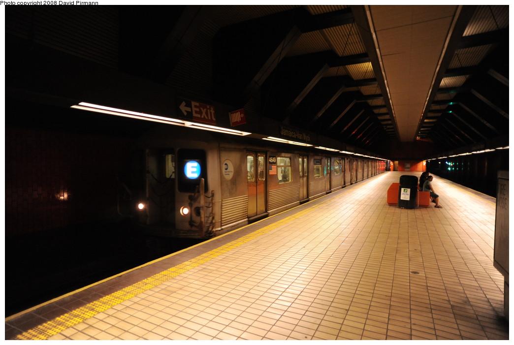 (231k, 1044x701)<br><b>Country:</b> United States<br><b>City:</b> New York<br><b>System:</b> New York City Transit<br><b>Line:</b> IND Queens Boulevard Line<br><b>Location:</b> Jamaica/Van Wyck <br><b>Route:</b> E<br><b>Car:</b> R-42 (St. Louis, 1969-1970)  4649 <br><b>Photo by:</b> David Pirmann<br><b>Date:</b> 8/27/2008<br><b>Viewed (this week/total):</b> 5 / 1775