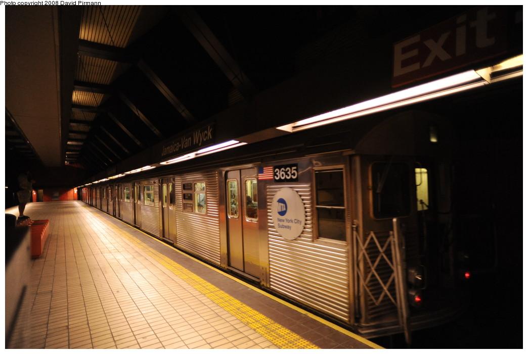 (223k, 1044x701)<br><b>Country:</b> United States<br><b>City:</b> New York<br><b>System:</b> New York City Transit<br><b>Line:</b> IND Queens Boulevard Line<br><b>Location:</b> Jamaica/Van Wyck <br><b>Route:</b> E<br><b>Car:</b> R-32 (Budd, 1964)  3635 <br><b>Photo by:</b> David Pirmann<br><b>Date:</b> 8/27/2008<br><b>Viewed (this week/total):</b> 1 / 1141