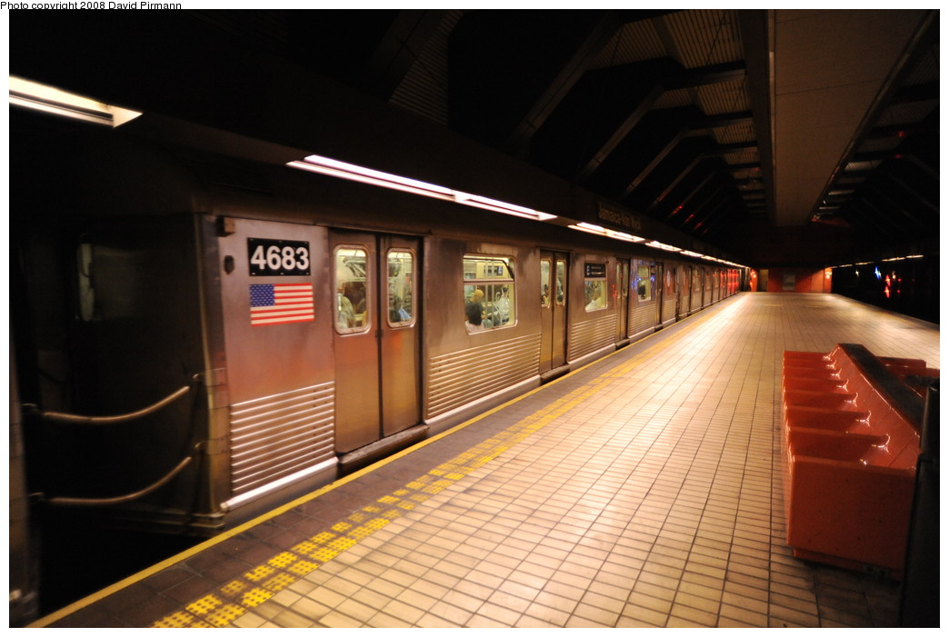 (229k, 1044x701)<br><b>Country:</b> United States<br><b>City:</b> New York<br><b>System:</b> New York City Transit<br><b>Line:</b> IND Queens Boulevard Line<br><b>Location:</b> Jamaica/Van Wyck <br><b>Route:</b> E<br><b>Car:</b> R-42 (St. Louis, 1969-1970)  4683 <br><b>Photo by:</b> David Pirmann<br><b>Date:</b> 8/27/2008<br><b>Viewed (this week/total):</b> 3 / 1301