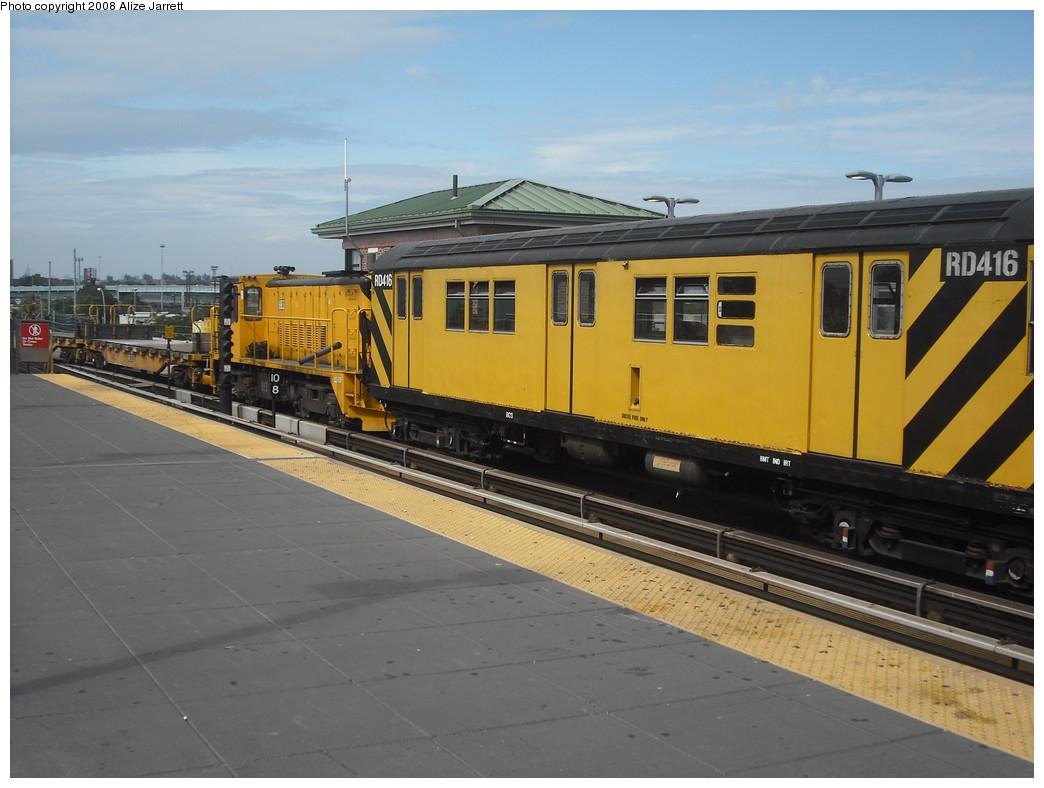 (179k, 1044x788)<br><b>Country:</b> United States<br><b>City:</b> New York<br><b>System:</b> New York City Transit<br><b>Location:</b> Coney Island/Stillwell Avenue<br><b>Route:</b> Work Service<br><b>Car:</b> R-161 Rider Car (ex-R-33)  RD416 (ex-8964)<br><b>Photo by:</b> Alize Jarrett<br><b>Date:</b> 8/29/2008<br><b>Notes:</b> With loco 883.<br><b>Viewed (this week/total):</b> 0 / 1643