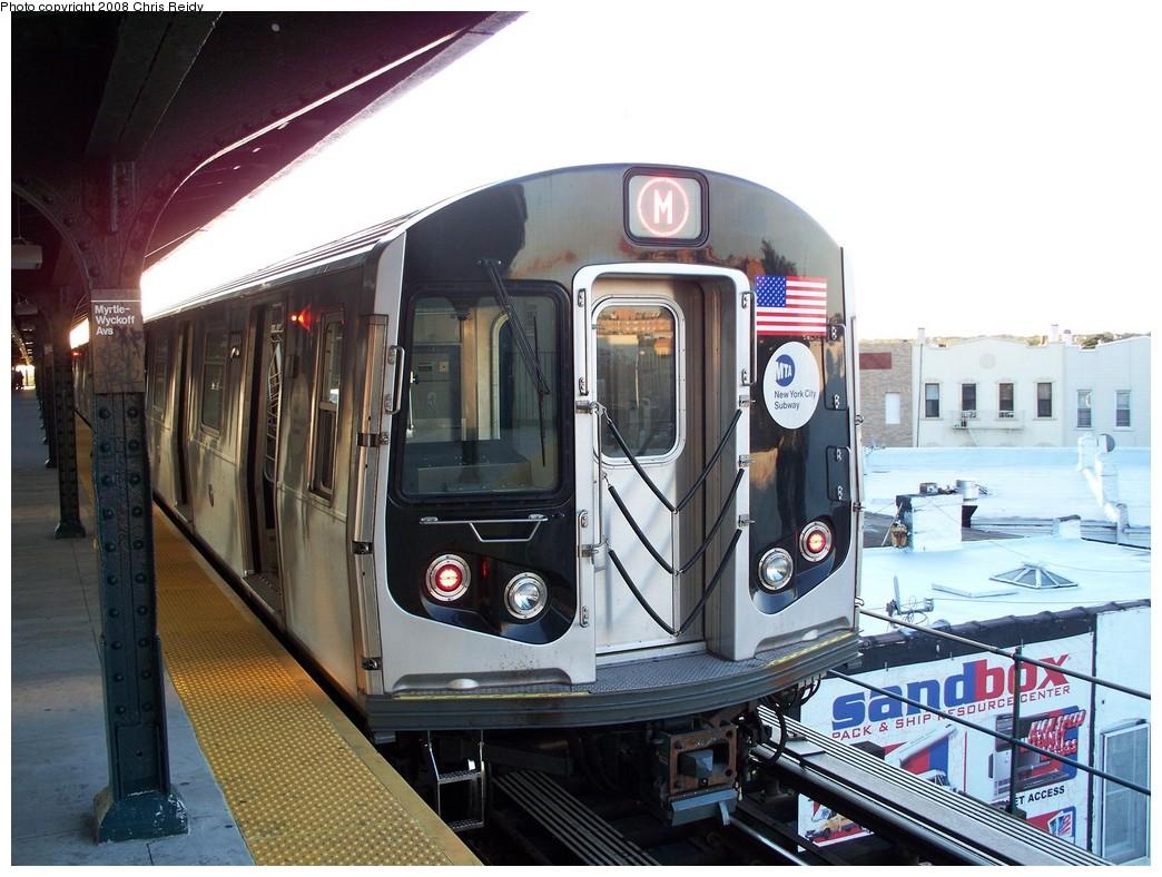 (223k, 1044x788)<br><b>Country:</b> United States<br><b>City:</b> New York<br><b>System:</b> New York City Transit<br><b>Line:</b> BMT Myrtle Avenue Line<br><b>Location:</b> Wyckoff Avenue <br><b>Route:</b> M<br><b>Car:</b> R-160A-1 (Alstom, 2005-2008, 4 car sets)  8333 <br><b>Photo by:</b> Chris Reidy<br><b>Date:</b> 8/26/2008<br><b>Viewed (this week/total):</b> 1 / 2107