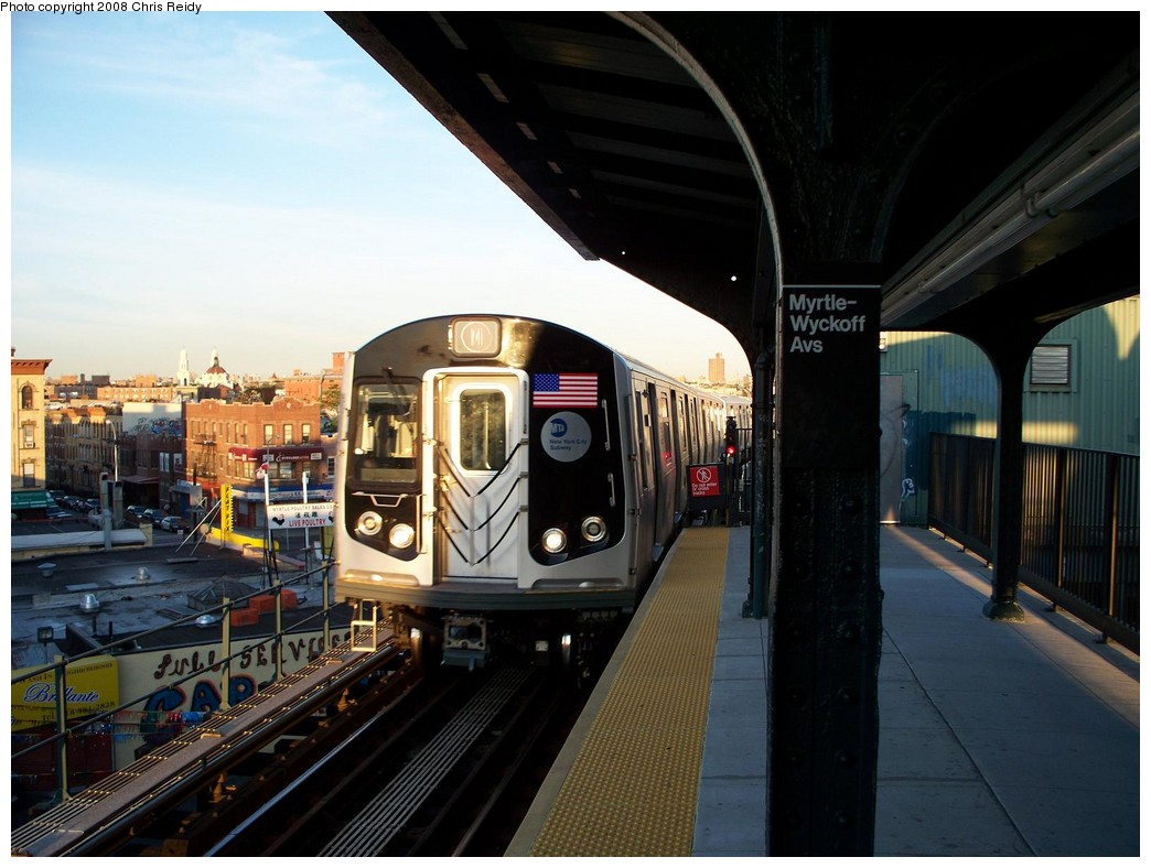 (198k, 1044x788)<br><b>Country:</b> United States<br><b>City:</b> New York<br><b>System:</b> New York City Transit<br><b>Line:</b> BMT Myrtle Avenue Line<br><b>Location:</b> Wyckoff Avenue <br><b>Route:</b> M<br><b>Car:</b> R-160A-1 (Alstom, 2005-2008, 4 car sets)  8457 <br><b>Photo by:</b> Chris Reidy<br><b>Date:</b> 8/26/2008<br><b>Viewed (this week/total):</b> 6 / 2494
