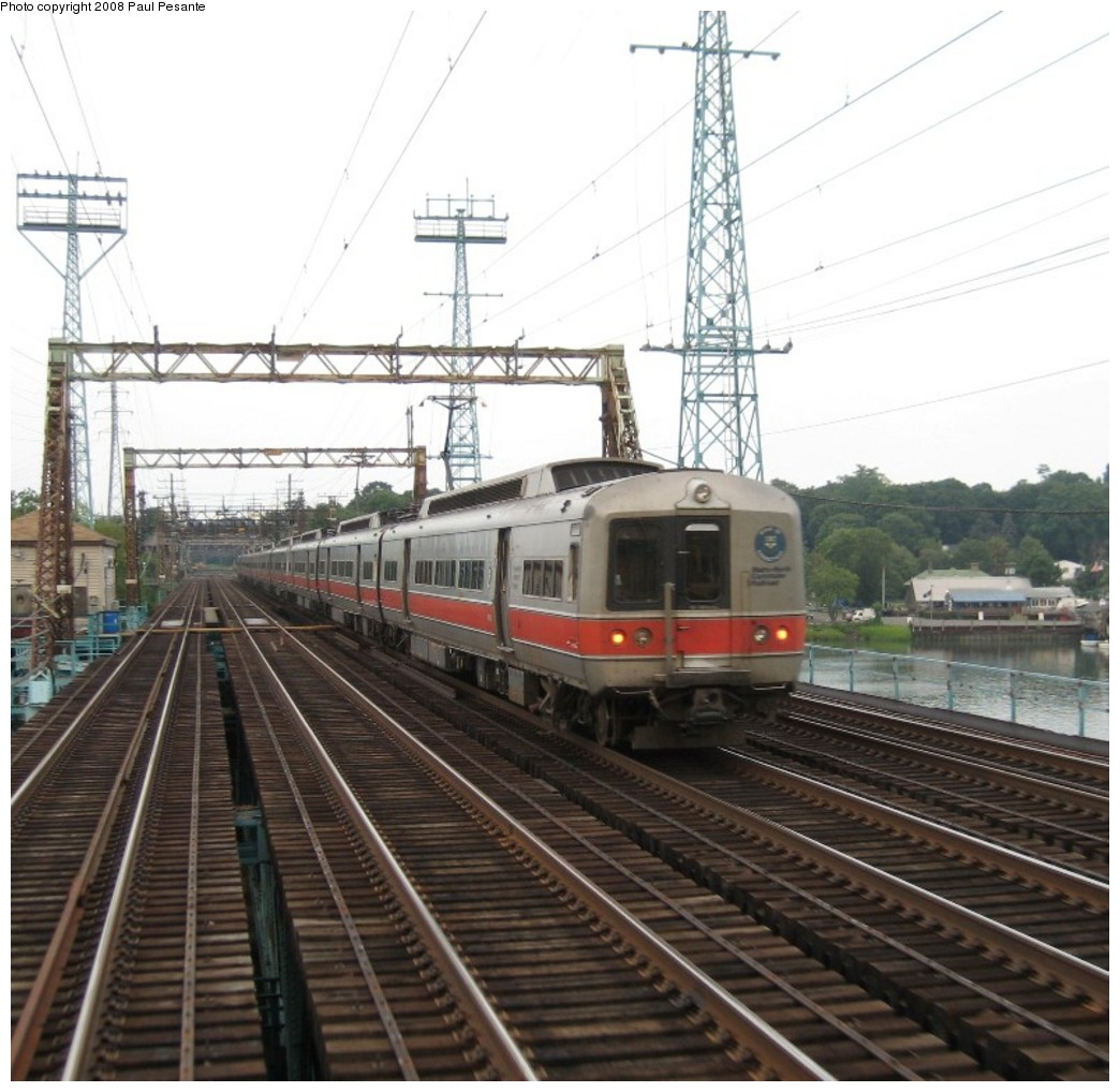 (216k, 1044x1018)<br><b>Country:</b> United States<br><b>System:</b> Metro-North Railroad (or Amtrak or Predecessor RR)<br><b>Line:</b> Metro North-New Haven Line<br><b>Location:</b> Cos Cob <br><b>Car:</b> MNRR M-4 EMU (Tokyu)  <br><b>Photo by:</b> Paul Pesante<br><b>Date:</b> 8/14/2008<br><b>Notes:</b> M-4 triplets bring up the east end of Train 1427 heading west on Track 1 crossing the Mianus River (Cos Cob) Bridge (CP 230) at Cos Cob, CT, as seen from Train # 1508. Reminder, the photographer is a railroad employee and wants to remind everyone, do not enter restricted areas!<br><b>Viewed (this week/total):</b> 0 / 1079