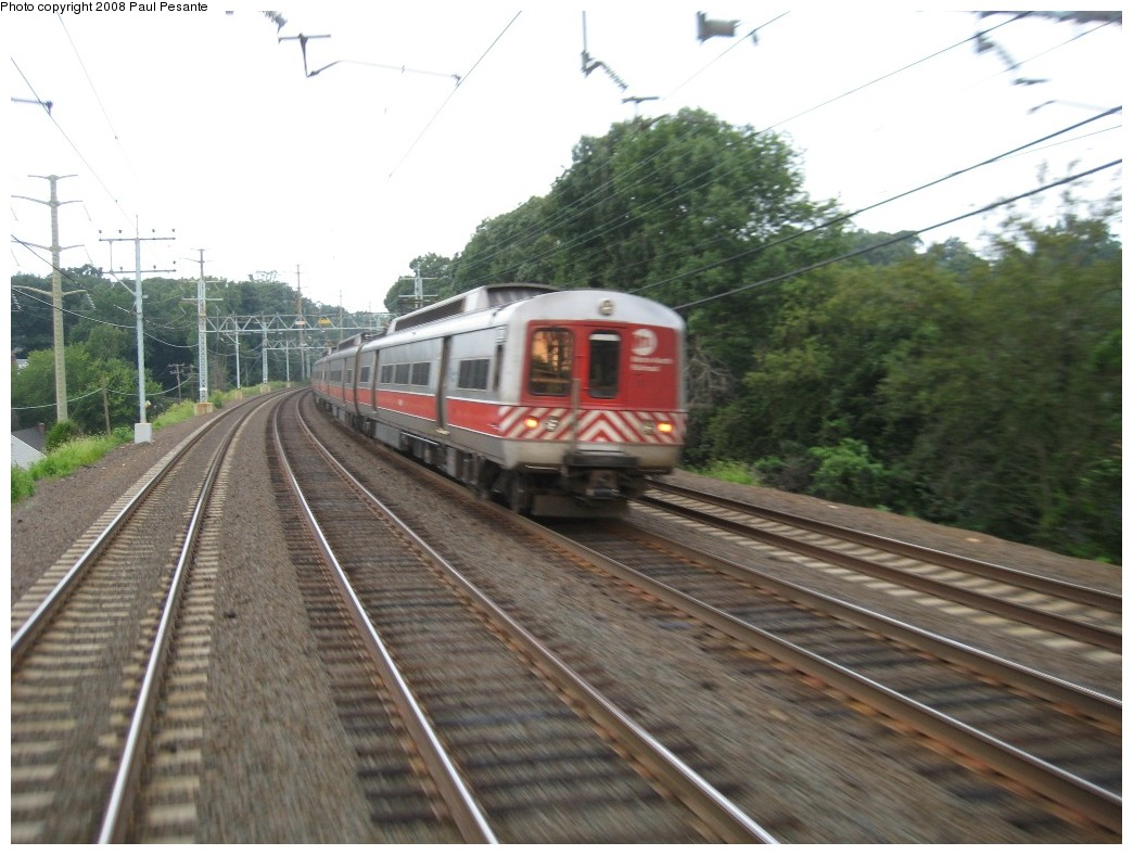 (195k, 1044x788)<br><b>Country:</b> United States<br><b>System:</b> Metro-North Railroad (or Amtrak or Predecessor RR)<br><b>Line:</b> Metro North-New Haven Line<br><b>Location:</b> Old Greenwich <br><b>Car:</b> MNRR M-2 EMU (GE/Vickers)  <br><b>Photo by:</b> Paul Pesante<br><b>Date:</b> 8/14/2008<br><b>Notes:</b> M-2s westbound west of Old Greenwich, CT on Track 1, as seen from Train # 1508. Reminder, the photographer is a railroad employee and wants to remind everyone, do not enter restricted areas!<br><b>Viewed (this week/total):</b> 2 / 927