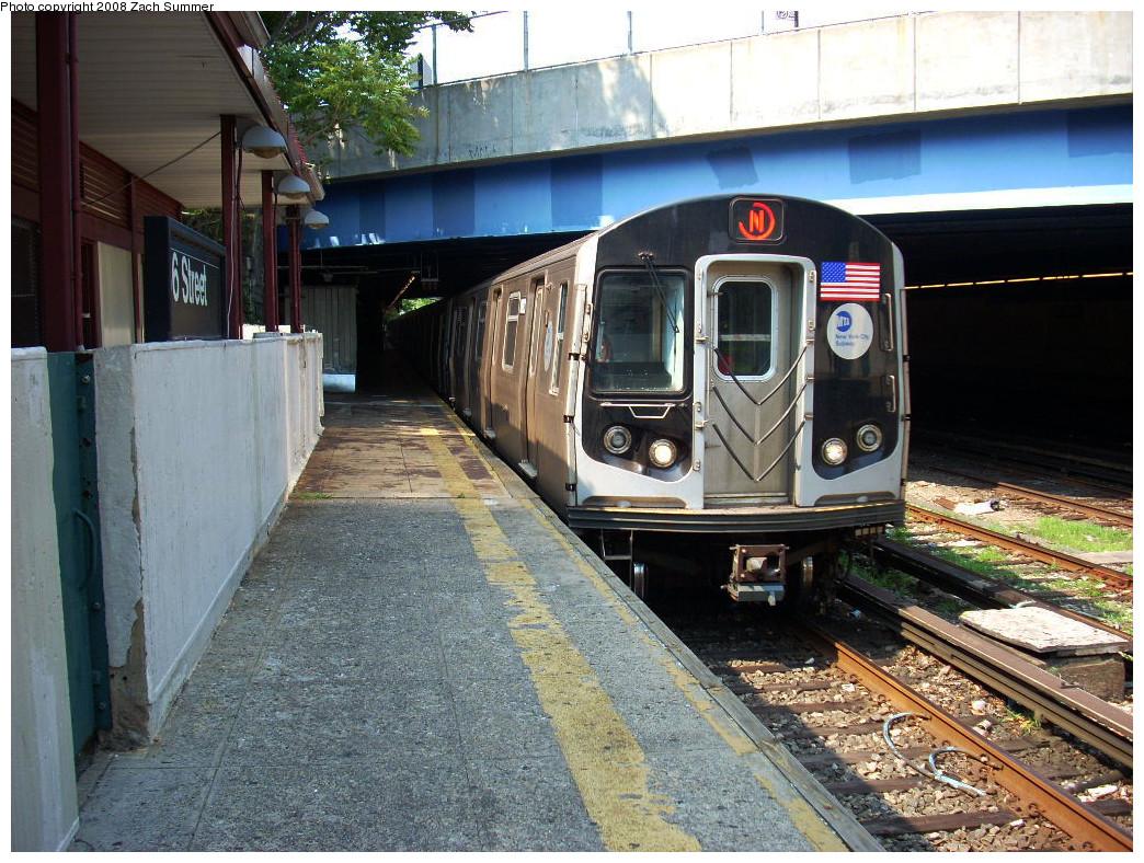 (342k, 1044x788)<br><b>Country:</b> United States<br><b>City:</b> New York<br><b>System:</b> New York City Transit<br><b>Line:</b> BMT Sea Beach Line<br><b>Location:</b> 86th Street <br><b>Route:</b> N<br><b>Car:</b> R-160B (Kawasaki, 2005-2008)  8803 <br><b>Photo by:</b> Zach Summer<br><b>Date:</b> 7/20/2008<br><b>Viewed (this week/total):</b> 0 / 1723