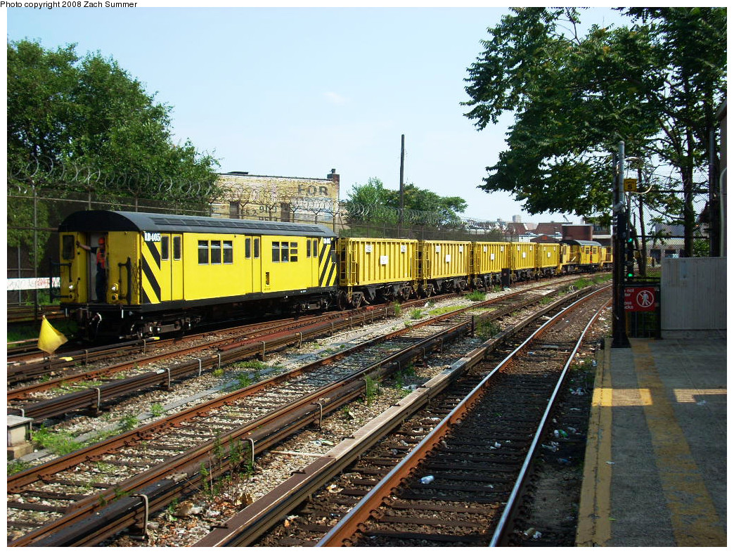 (417k, 1044x788)<br><b>Country:</b> United States<br><b>City:</b> New York<br><b>System:</b> New York City Transit<br><b>Line:</b> BMT Sea Beach Line<br><b>Location:</b> 86th Street <br><b>Route:</b> Work Service<br><b>Car:</b> R-161 Rider Car (ex-R-33)  RD405 (ex-8859)<br><b>Photo by:</b> Zach Summer<br><b>Date:</b> 7/20/2008<br><b>Viewed (this week/total):</b> 0 / 1903