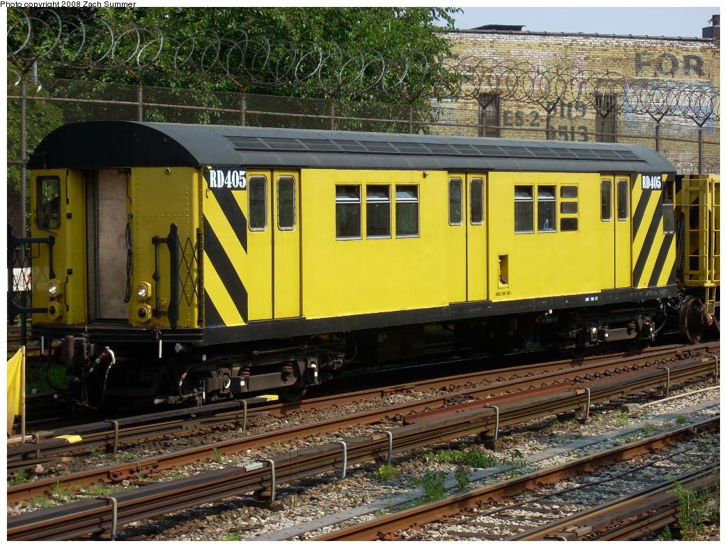 (363k, 1044x788)<br><b>Country:</b> United States<br><b>City:</b> New York<br><b>System:</b> New York City Transit<br><b>Line:</b> BMT Sea Beach Line<br><b>Location:</b> 86th Street <br><b>Route:</b> Work Service<br><b>Car:</b> R-161 Rider Car (ex-R-33)  RD405 (ex-8859)<br><b>Photo by:</b> Zach Summer<br><b>Date:</b> 7/20/2008<br><b>Viewed (this week/total):</b> 2 / 1558