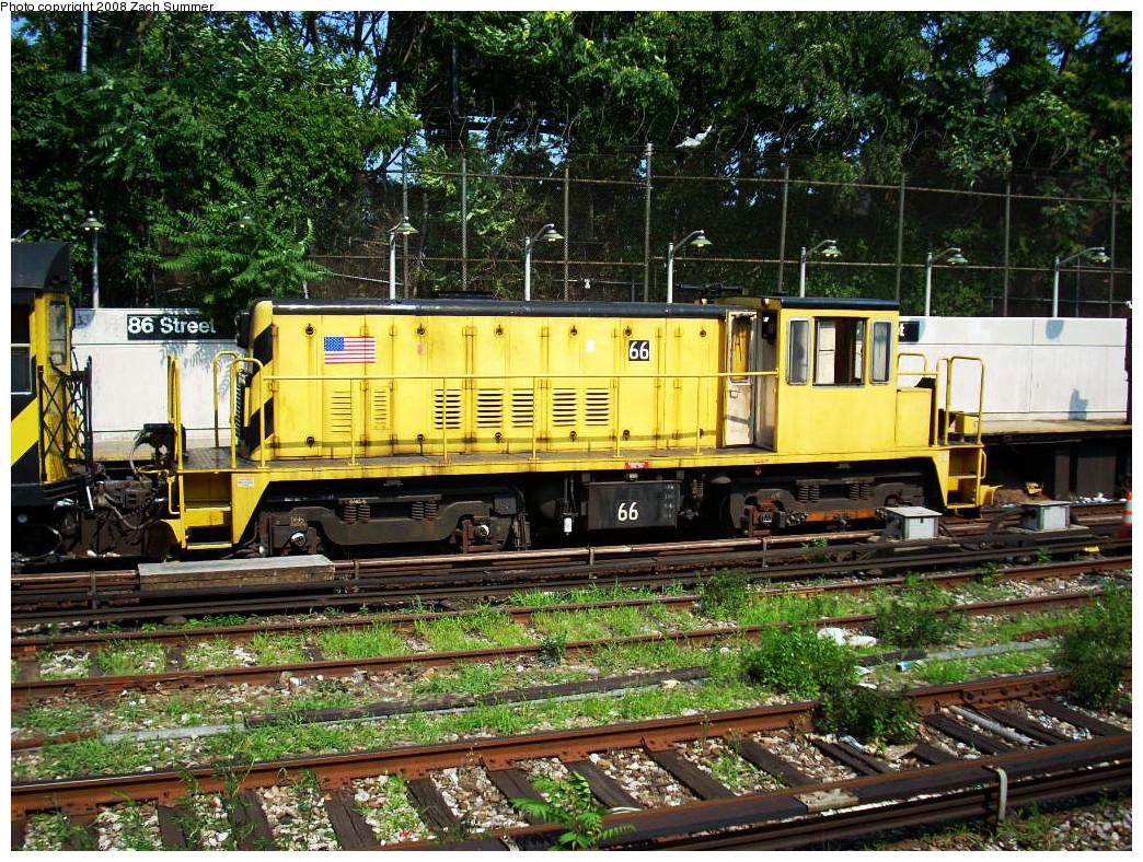 (464k, 1044x788)<br><b>Country:</b> United States<br><b>City:</b> New York<br><b>System:</b> New York City Transit<br><b>Line:</b> BMT Sea Beach Line<br><b>Location:</b> 86th Street <br><b>Route:</b> Work Service<br><b>Car:</b> R-47 Locomotive  66 <br><b>Photo by:</b> Zach Summer<br><b>Date:</b> 7/20/2008<br><b>Viewed (this week/total):</b> 0 / 1068