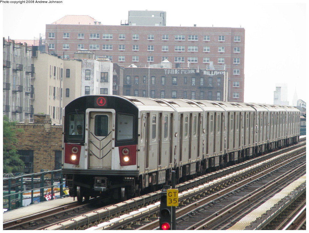 (258k, 1044x788)<br><b>Country:</b> United States<br><b>City:</b> New York<br><b>System:</b> New York City Transit<br><b>Line:</b> IRT Woodlawn Line<br><b>Location:</b> Mt. Eden Avenue <br><b>Route:</b> 4<br><b>Car:</b> R-142A (Option Order, Kawasaki, 2002-2003)  7685 <br><b>Photo by:</b> Andrew Johnson<br><b>Date:</b> 7/30/2008<br><b>Viewed (this week/total):</b> 0 / 1743
