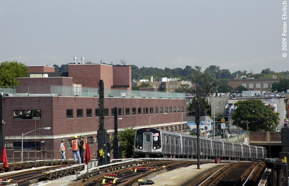(210k, 930x601)<br><b>Country:</b> United States<br><b>City:</b> New York<br><b>System:</b> New York City Transit<br><b>Line:</b> BMT Culver Line<br><b>Location:</b> Ditmas Avenue <br><b>Route:</b> F<br><b>Car:</b> R-160B (Option 1) (Kawasaki, 2008-2009)  9177 <br><b>Photo by:</b> Peter Ehrlich<br><b>Date:</b> 7/22/2009<br><b>Notes:</b> Outbound<br><b>Viewed (this week/total):</b> 1 / 1402