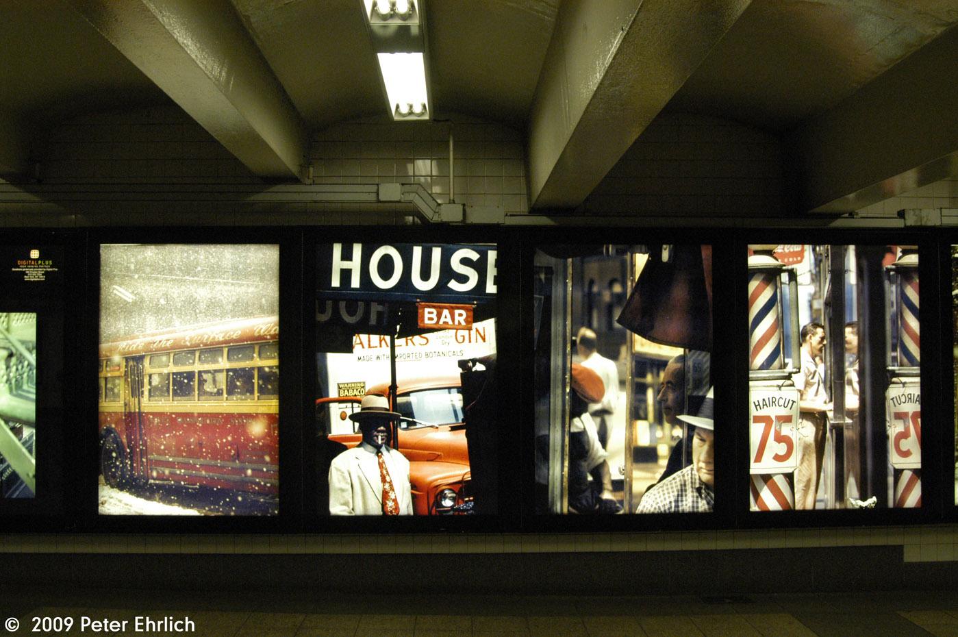 (329k, 1399x930)<br><b>Country:</b> United States<br><b>City:</b> New York<br><b>System:</b> New York City Transit<br><b>Line:</b> IND 6th Avenue Line<br><b>Location:</b> 42nd Street/Bryant Park <br><b>Photo by:</b> Peter Ehrlich<br><b>Date:</b> 7/22/2009<br><b>Artwork:</b> <i>Underground Exposure: Photographs from a Daily Commute</i>, Travis Ruse (2009).<br><b>Viewed (this week/total):</b> 4 / 1152