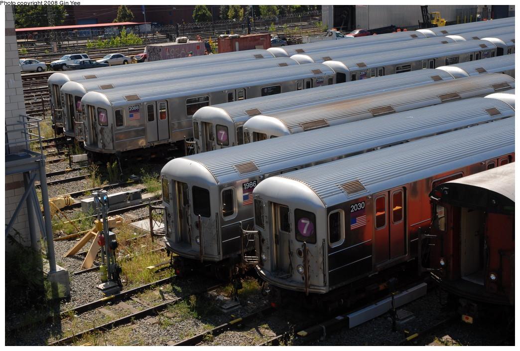 (283k, 1044x705)<br><b>Country:</b> United States<br><b>City:</b> New York<br><b>System:</b> New York City Transit<br><b>Location:</b> Corona Yard<br><b>Car:</b> R-62A (Bombardier, 1984-1987)  2088/1986/2030 <br><b>Photo by:</b> Gin Yee<br><b>Date:</b> 9/2/2008<br><b>Viewed (this week/total):</b> 0 / 1371
