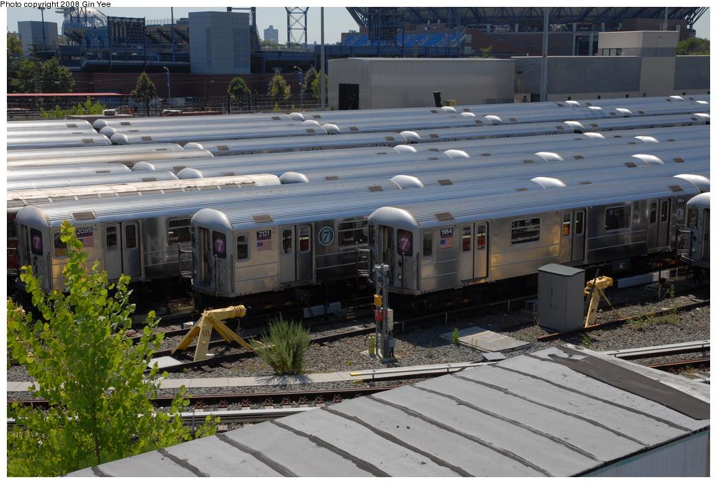 (269k, 1044x705)<br><b>Country:</b> United States<br><b>City:</b> New York<br><b>System:</b> New York City Transit<br><b>Location:</b> Corona Yard<br><b>Car:</b> R-62A (Bombardier, 1984-1987)  2121 <br><b>Photo by:</b> Gin Yee<br><b>Date:</b> 9/2/2008<br><b>Notes:</b> Note 7 US Open stickers on car 2121.<br><b>Viewed (this week/total):</b> 1 / 1321