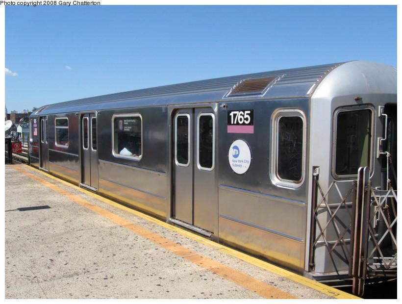 (132k, 820x620)<br><b>Country:</b> United States<br><b>City:</b> New York<br><b>System:</b> New York City Transit<br><b>Line:</b> IRT Flushing Line<br><b>Location:</b> 82nd Street/Jackson Heights <br><b>Route:</b> 7<br><b>Car:</b> R-62A (Bombardier, 1984-1987)  1765 <br><b>Photo by:</b> Gary Chatterton<br><b>Date:</b> 8/31/2008<br><b>Viewed (this week/total):</b> 2 / 1412