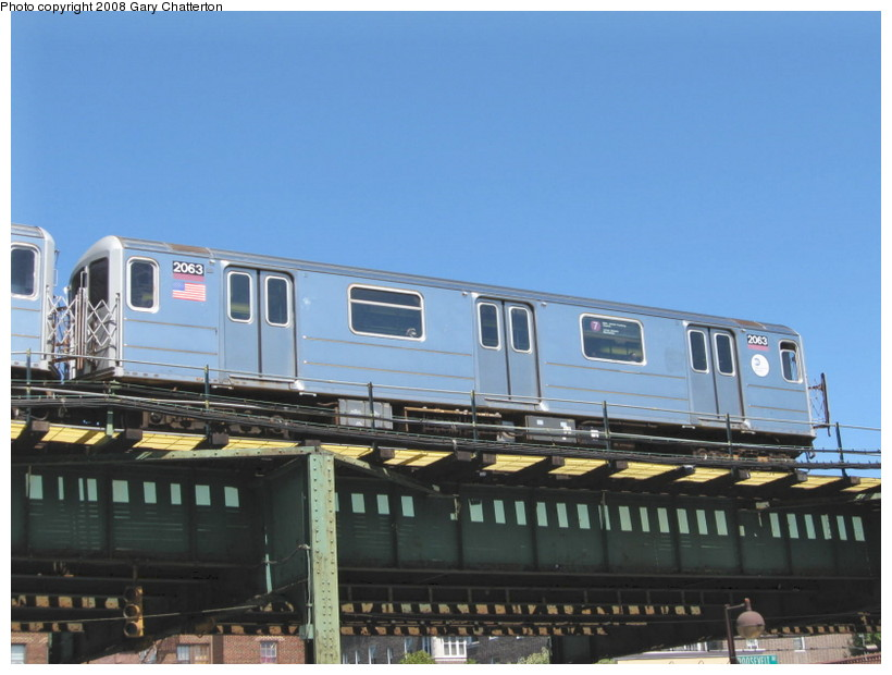 (114k, 820x620)<br><b>Country:</b> United States<br><b>City:</b> New York<br><b>System:</b> New York City Transit<br><b>Line:</b> IRT Flushing Line<br><b>Location:</b> 82nd Street/Jackson Heights <br><b>Route:</b> 7<br><b>Car:</b> R-62A (Bombardier, 1984-1987)  2063 <br><b>Photo by:</b> Gary Chatterton<br><b>Date:</b> 8/31/2008<br><b>Viewed (this week/total):</b> 2 / 1363