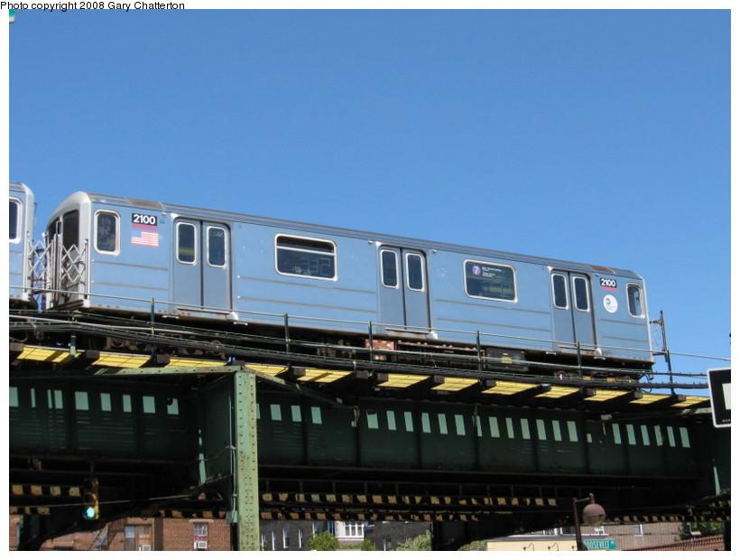(115k, 820x620)<br><b>Country:</b> United States<br><b>City:</b> New York<br><b>System:</b> New York City Transit<br><b>Line:</b> IRT Flushing Line<br><b>Location:</b> 82nd Street/Jackson Heights <br><b>Route:</b> 7<br><b>Car:</b> R-62A (Bombardier, 1984-1987)  2100 <br><b>Photo by:</b> Gary Chatterton<br><b>Date:</b> 8/31/2008<br><b>Viewed (this week/total):</b> 0 / 1314