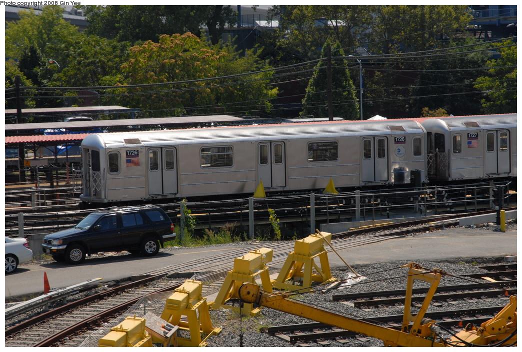 (315k, 1044x705)<br><b>Country:</b> United States<br><b>City:</b> New York<br><b>System:</b> New York City Transit<br><b>Location:</b> Corona Yard<br><b>Car:</b> R-62A (Bombardier, 1984-1987)  1726 <br><b>Photo by:</b> Gin Yee<br><b>Date:</b> 9/2/2008<br><b>Viewed (this week/total):</b> 0 / 1293