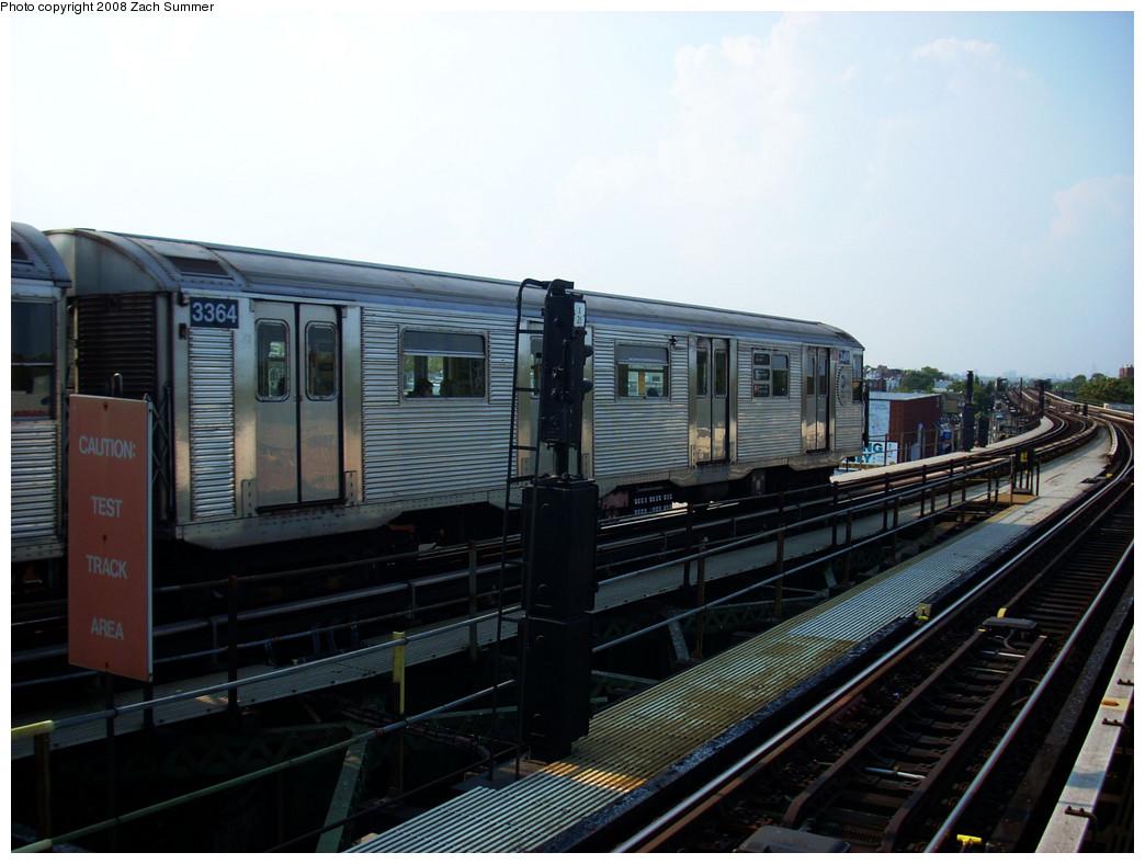 (232k, 1044x788)<br><b>Country:</b> United States<br><b>City:</b> New York<br><b>System:</b> New York City Transit<br><b>Line:</b> BMT Culver Line<br><b>Location:</b> Kings Highway <br><b>Route:</b> F<br><b>Car:</b> R-32 (Budd, 1964)  3364 <br><b>Photo by:</b> Zach Summer<br><b>Date:</b> 7/20/2008<br><b>Viewed (this week/total):</b> 1 / 1817