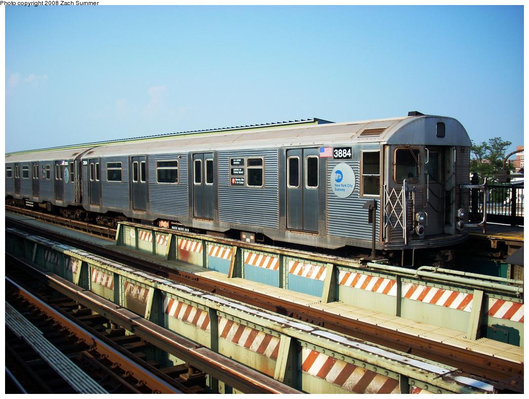 (314k, 1044x788)<br><b>Country:</b> United States<br><b>City:</b> New York<br><b>System:</b> New York City Transit<br><b>Line:</b> BMT Culver Line<br><b>Location:</b> Avenue X <br><b>Route:</b> F<br><b>Car:</b> R-32 (Budd, 1964)  3884 <br><b>Photo by:</b> Zach Summer<br><b>Date:</b> 7/20/2008<br><b>Viewed (this week/total):</b> 1 / 1718