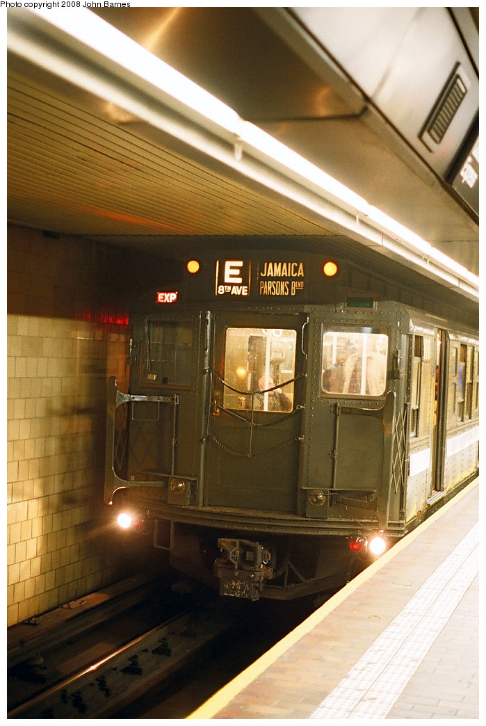 (260k, 699x1044)<br><b>Country:</b> United States<br><b>City:</b> New York<br><b>System:</b> New York City Transit<br><b>Line:</b> IND Queens Boulevard Line<br><b>Location:</b> Jamaica Center/Parsons-Archer <br><b>Route:</b> Fan Trip<br><b>Car:</b> R-1 (American Car & Foundry, 1930-1931) 100 <br><b>Photo by:</b> John Barnes<br><b>Date:</b> 11/9/2003<br><b>Viewed (this week/total):</b> 0 / 1391