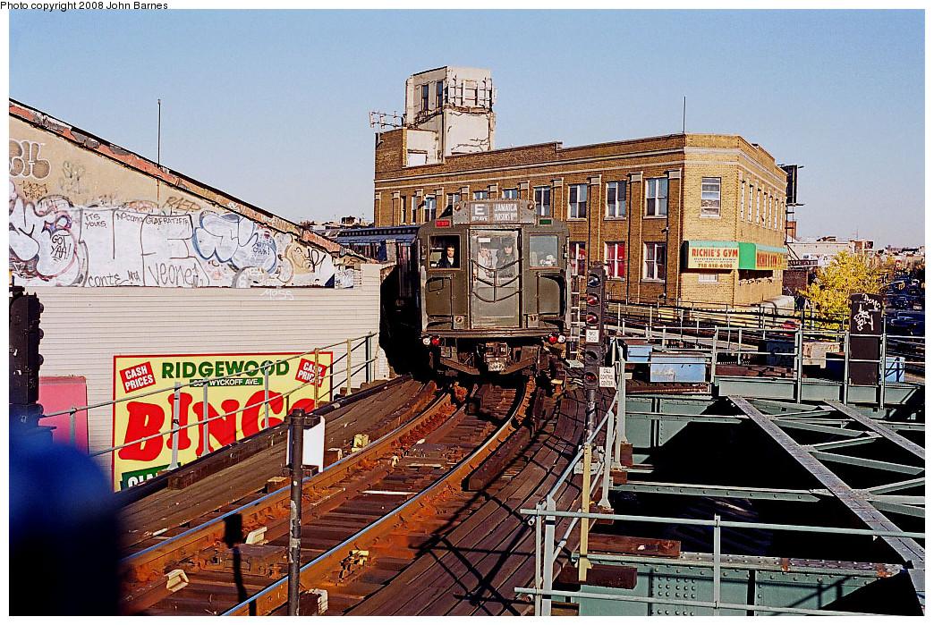 (383k, 1044x699)<br><b>Country:</b> United States<br><b>City:</b> New York<br><b>System:</b> New York City Transit<br><b>Line:</b> BMT Myrtle Avenue Line<br><b>Location:</b> Wyckoff Avenue <br><b>Route:</b> Fan Trip<br><b>Car:</b> R-1 (American Car & Foundry, 1930-1931) 100 <br><b>Photo by:</b> John Barnes<br><b>Date:</b> 11/9/2003<br><b>Viewed (this week/total):</b> 1 / 2977