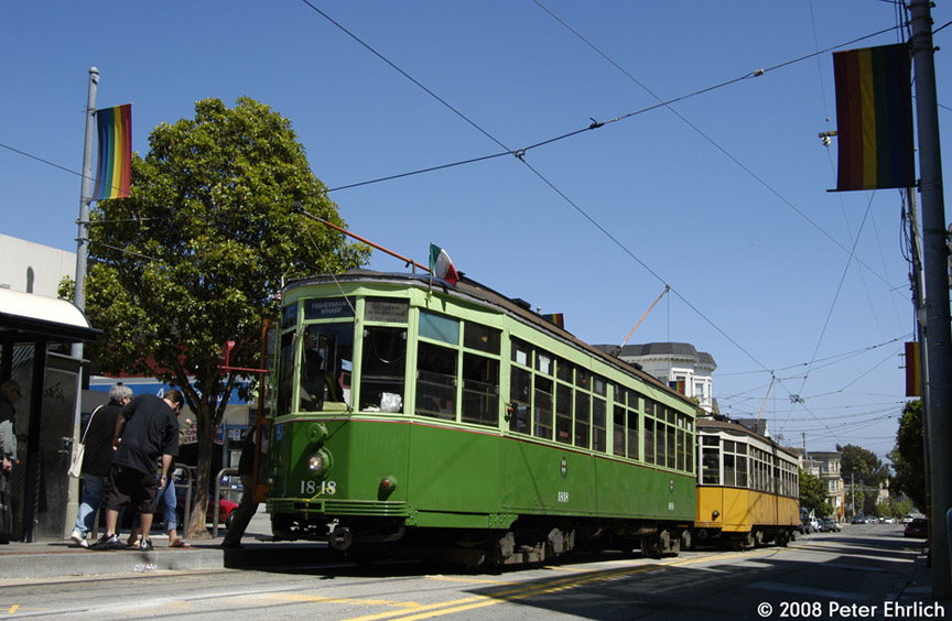 (183k, 864x564)<br><b>Country:</b> United States<br><b>City:</b> San Francisco/Bay Area, CA<br><b>System:</b> SF MUNI<br><b>Location:</b> Market/17th/Castro <br><b>Car:</b> Milan Milano/Peter Witt (1927-1930)  1818 <br><b>Photo by:</b> Peter Ehrlich<br><b>Date:</b> 8/30/2008<br><b>Notes:</b> 17th Street/Castro Terminal. With Milan 1811 (Milan historic yellow/white).<br><b>Viewed (this week/total):</b> 0 / 314