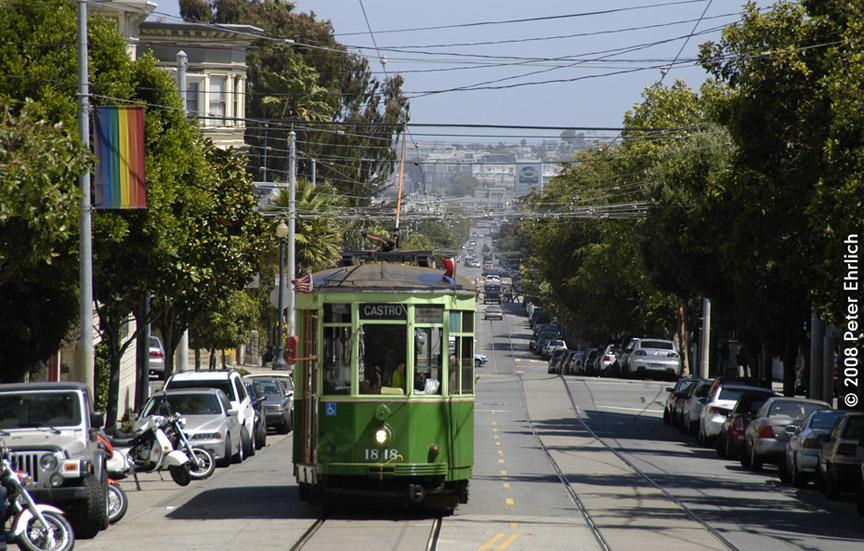 (237k, 864x551)<br><b>Country:</b> United States<br><b>City:</b> San Francisco/Bay Area, CA<br><b>System:</b> SF MUNI<br><b>Location:</b> Market/17th/Castro <br><b>Car:</b> Milan Milano/Peter Witt (1927-1930)  1818 <br><b>Photo by:</b> Peter Ehrlich<br><b>Date:</b> 8/30/2008<br><b>Notes:</b> Approaching 17th Street/Castro Terminal.<br><b>Viewed (this week/total):</b> 0 / 338