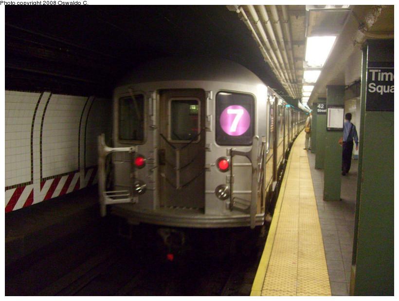 (169k, 820x620)<br><b>Country:</b> United States<br><b>City:</b> New York<br><b>System:</b> New York City Transit<br><b>Line:</b> IRT Flushing Line<br><b>Location:</b> Times Square <br><b>Route:</b> 7<br><b>Car:</b> R-62A (Bombardier, 1984-1987)   <br><b>Photo by:</b> Oswaldo C.<br><b>Date:</b> 9/3/2008<br><b>Viewed (this week/total):</b> 3 / 1867